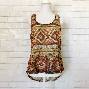 Poetry Semi Sheer Tribal Hi-Lo Tank Top Camisole
